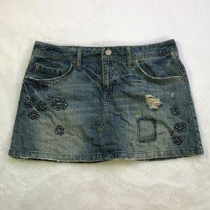 AEO Jean Skirt Denim Distressed Size 14